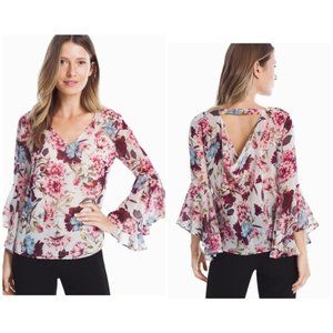 WHBM Bell Sleeve Cream with Floral Print Blouse
